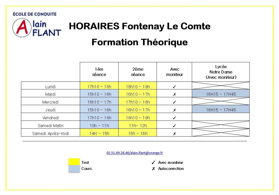 Horaires code de la route à Fontenay