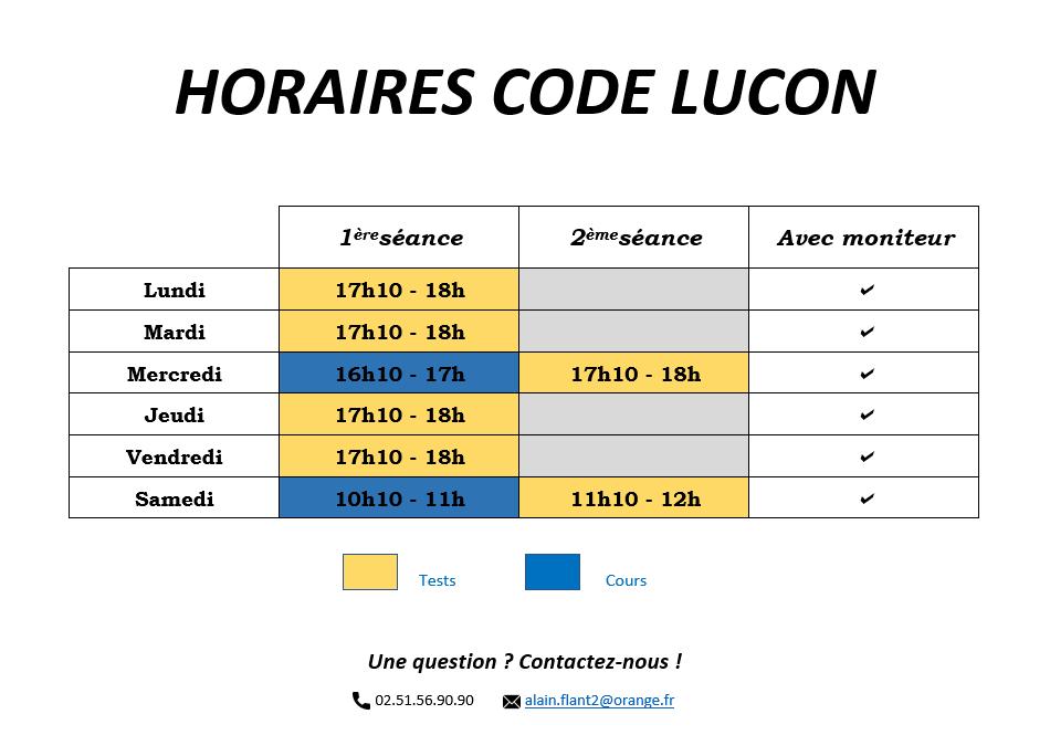 Horaires code de la route à Luçon